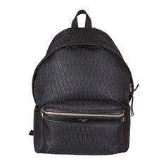 Saint Laurent Paris Black Monogram Backpack found on Polyvore featuring bags, backpacks, black, leather rucksack, black bag, leather bags, leather daypack and black leather bag