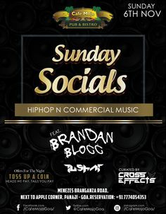 Café Mojo Goa brings to you Sunday Socials, a great night out to make new friends and let the social butterfly in you loose. Party all night long, for why should Sunday's be boring?  #Pubs #Party #Music #Beer #EatLocal   #Beers #Enjoy #BeerDrinks  #Parties #PartyMusic #GoodTimes  #Dance #Pub #Fun #DrinkLocal #OntheBar  #Drinks #Goa  #OnthePub  #clubbing #club #discoteca #lounge #bar