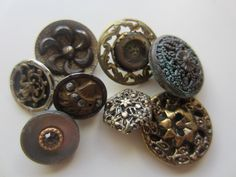 Vintage Buttons - Collector molded metal, pressed and molded, Victorian lot of 8 florals, and assorted deigns, very old (lot mar 91) by pillowtalkswf on Etsy