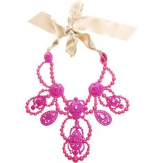 Lacquered crystal Necklace ($1,725) ❤ liked on Polyvore featuring jewelry, necklaces, accessories, pink, lanvin, fashion jewellery, beading necklaces, pink ribbon jewelry, pink necklace and beaded necklaces