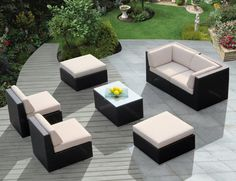 Create a beautiful outdoor seating area that you have always dreamed of! Genuine Ohana Outdoor Patio Wicker Furniture All Weather Gorgeous Couch Set Sectional Patio Furniture, Outdoor Wicker Patio Furniture, Patio Furniture Covers, Outdoor Dining Set, Patio Furniture Sets, Garden Furniture, Outdoor Living, Wicker Sofa, Rattan Furniture