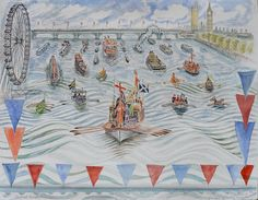 Richard Bawden RE RWS, Gloriana Approaching Hungerford Bridge 2, Watercolour, POA,  Contact info@banksidegallery.com for further details. See www.banksidegallery.com for other prints and paintings