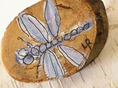 Dragonfly Nature Pin Woodland Jewelry Wooden Brooch Hand Painted Whimsical Insect - Laurie Rohner Studio