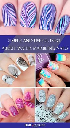Water Marble Nails Tutorials You Can Repeat at Home Things You Are Doing Water Nails, Water Marble Nails, Marble Nail Art, Water Nail Art, Simple Nails Design, Nail Design Spring, Nail Art Designs, Marble Nail Designs, Nail Lacquer