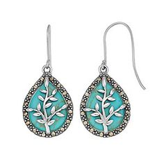 Tori Hill Sterling Silver Simulated Turquoise & Marcasite Tree Dangle Earrings   Kohls Enamel Jewelry, Copper Jewelry, 12 Days Of Xmas, Silver Earrings, Dangle Earrings, Jewelry Making Tutorials, Marcasite, Etsy Handmade, Dangles