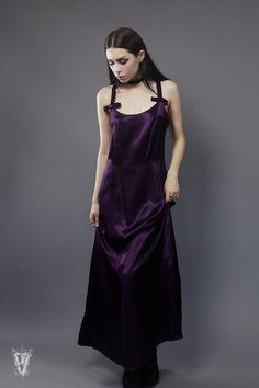 Sz S/M Vintage 1990s Slinky Plum Silk Maxi Dress by VespereVintage
