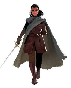 'Arya Stark' by Jennifer Aberin Character Sketches, Character Design References, Character Illustration, Character Creation, Character Concept, Character Art, Character Portraits, Character Ideas, Dnd Characters