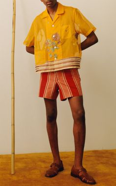 Made in the USA, Bode's 'Rajasthan' shorts are cut from striped cotton with spare detailing to maintain a clean silhouette. Wear yours with one of the brand's colorful shirts and comfortable leather sandals. Afro Punk Fashion, Men's Fashion, Fashion Shirts, Fashion Styles, Fashion Rings, Mens Fashion Week, Textiles, Poses, High Waisted Shorts