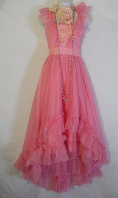 Pink prom dress ruffles  vintage princess romantic fairytale x-small by vintage opulence on Etsy