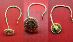 Rajasthani borla (also known as maang tikka) - a great Indian hair accessory usually worn in weddings. It is placed right in the middle of the forehead and is worn only in the parting of the hair Tikka Jewelry, India Jewelry, Gold Jewellery, Quartz Jewelry, Indian Bridal Jewelry Sets, Wedding Jewelry, Rajputi Jewellery, Gold Ring Designs, Jewelry Patterns