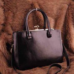 Womens black leather shoulder bag $98.00