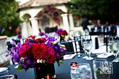 Low red and purple centerpieces. Make in wooden planter boxes.