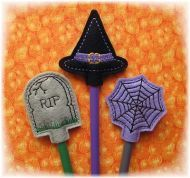 Halloween Pencil Toppers Set 2 FELT STITCHIES (in the hoop)