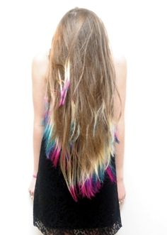 tie dye hair...i like how it looks bleached it little bit higher I WOULD NEVER DO THIS but it is cool