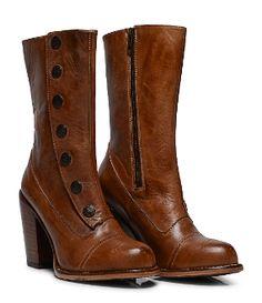 ff1546da8a72 Amelia Side Zipper Tan Leather Button Snap Womens Granny Boots