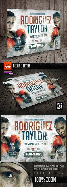 Sports Flyer, Event Flyer Templates, Vibrant Colors, Baseball Cards, Boxing, Vivid Colors, Brass Knuckles