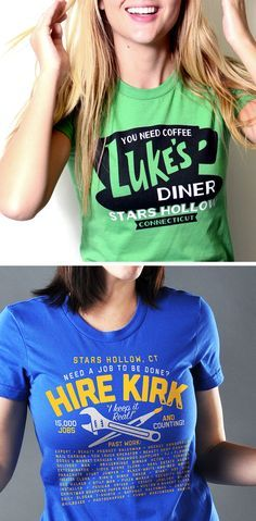 """Get used to hearing, """"Where'd you get that shirt? I love it!"""" Luke's Diner and Hire Kirk t-shirt for men, women and kids from SnorgTees. Whether youךre looking to upgrade your t-shirt collection or need a clever gift for someone special, SnorgTees is a must."""