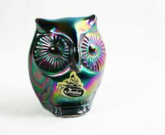 SALE Vintage Fenton Blue Carnival Glass Owl Mint Condition Etsy Treasury Item