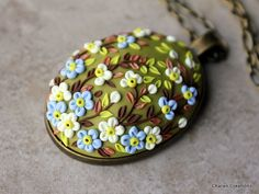 Polymer Clay Applique Floral Pendant Necklace por charancreations