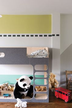 Nursery Wall Painted In Farrow & Ball Churlish Green, Down Pipe, Ammonite And Blue Ground
