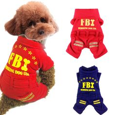 Winter Cat Dod Coat FBI Fleece Jumpsuit Winter Puppy Dog Cat Clothes