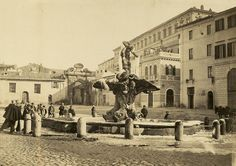 View of Fontana del Tritone, Piazza Barberini in winter 1863 (ca) Best Cities In Europe, Italy Pictures, Italy Travel, Old Photos, Rome, History, Places, Antique, Gelato