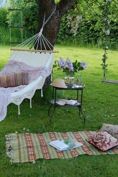 Side table and blanket rug for hammock