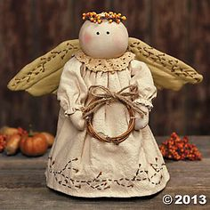 Fall Country Angel Shelf Sitter.....(a cute country angel....plain and simple...love her embroidered details, too!)....