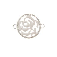 35mm White Enamel Rose Connector With Rhinestones
