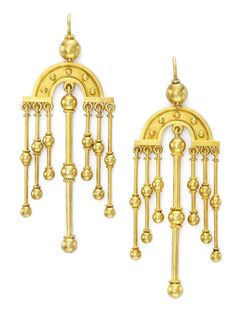 A Pair of Gold Victorian Ear Pendant.   Available at FD. www.fd-inspired.com