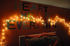 Song lyrics and twinkle lights - tween bedroom