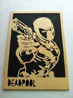 Deadpool marvel cuadro de madera de Planetasierra por DaWanda.com