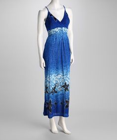 Take a look at this Blue Floral Maxi Dress by Ivy Wear on #zulily today!