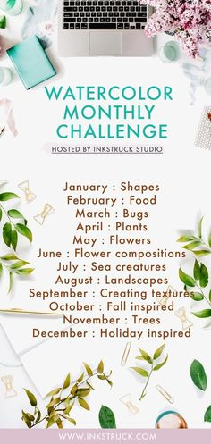 Take this monthly watercolor challenge along with ideas for prompts in 2018 to improve your skill! Hosted by Inkstruck Studio, it's going to be a fun one - www.inkstruck.com #watercolorarts
