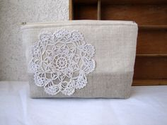 Vintage Doily and Linen Clutch