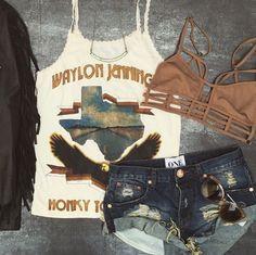 Midnight Rider Honky Tonk Hero Waylon Jennings Lace Tank