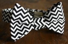 Lord Wallington Handmade Black Chevron Bow Tie by LordWallington, $40.00