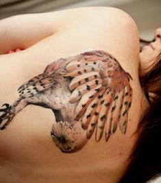 Realistic owl tattoos are colorful and can be combined with flowers or other details. Description from women-tattoo.net. I searched for this on bing.com/images