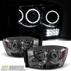 Smoke-2006-2008-Dodge-Ram-1500-2500-3500-LED-Halo-Projector-Headlights-06-08-Set
