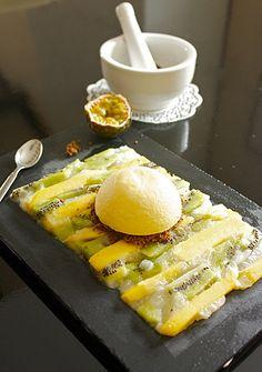 cheesecake fruits de la passion, gelée de fruits exotiques