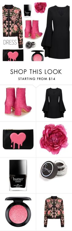 """""""$54 dress"""" by juliehalloran ❤ liked on Polyvore featuring Maryam Nassir Zadeh, Love Moschino, Gucci, Butter London, Sigma, MAC Cosmetics and Needle & Thread"""