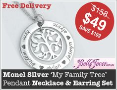 Stunning Monel Silver 'My Family Tree' Pendant Necklace & Earring Set #necklace #pendant