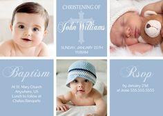 Blue Christening Baptism Invitations