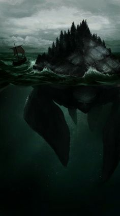 Hafgufa- Icelandic myth: an enormous sea monster, a whale or turtle whose nose when sticking out of the water is mistaken as giant rocks. It is the mother of all sea life and as such, can consume anything in the ocean. It would belch up previous meals in order to attract fish to its mouth and stomach, and when there was plenty, it would close it's mouth and swallow it all at once. It is infertile and unable to reproduce with its partner Lyngbakr Magic Creatures, Fantasy Creatures, Mythical Creatures, Sea Creatures, Fantasy Monster, Monster Art, Dark Fantasy Art, Fantasy World, Cryptozoology