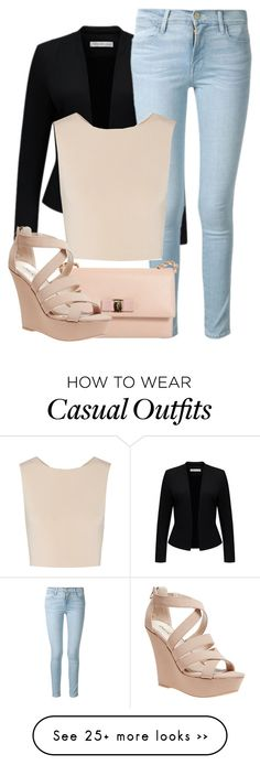 """Casual"" by jaywashington on Polyvore featuring Forever New, Frame Denim, Alice + Olivia, Salvatore Ferragamo and Wet Seal."