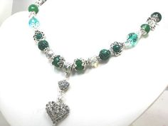 Green Gemstone Crystal Necklace Green Onyx, Green Agate, Green Carved Malachite, Green Dragons Vein, Green Crystal Quartz & Opaque Opals by Chris of FantasyDesign, $175.00