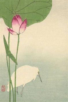 """White Heron And Lotus"" Print (Black Framed Poster Print Japanese Prints, Japanese Art, Japanese Style, Street Art, Lotus Painting, Lotus Art, Painting Prints, Art Prints, Art Japonais"