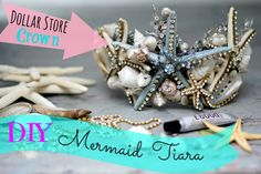 Mermaid Tiara from the Dollar Store! mermaid tiara DIY newmermaid tiara DIY new Mermaid Tiara, Mermaid Diy, Mermaid Crowns Diy, Tiara Diy, Seashell Crown, Seashell Wedding, Hallowen Ideas, Diy Crown, Mermaid Parties