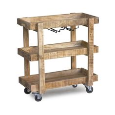 Timbergirl Reclaimed Wood Wheeled Bar And Drink Cart (india)