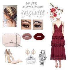 """""""Untitled #97"""" by shahadalkhamees4 on Polyvore featuring self-portrait, Gianvito Rossi, Givenchy, Lime Crime, Forzieri, Rolex, Kobelli and Wall Pops!"""